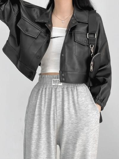 Heights leather cropped jacket