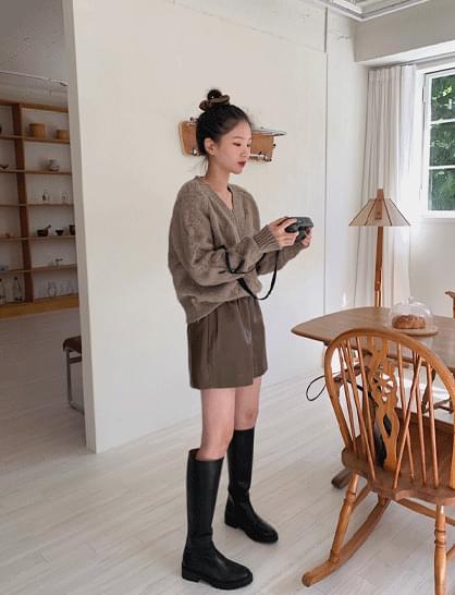 split leather shorts