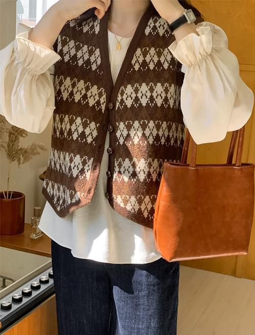 Bohemian Wool Knitwear Button Vest