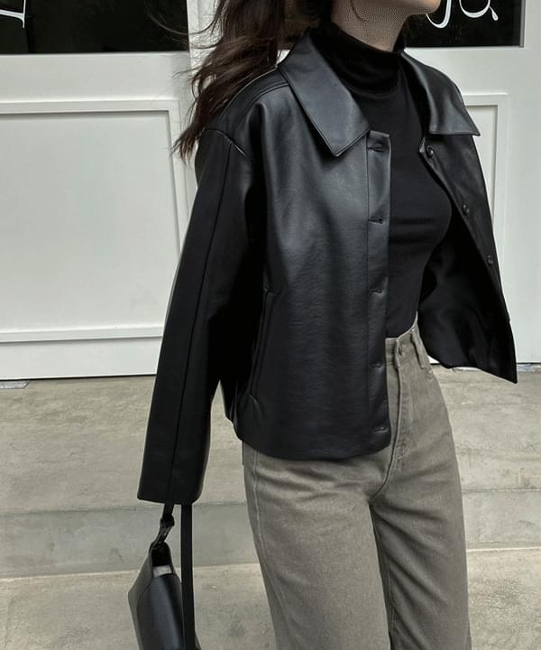 follow leather short jacket