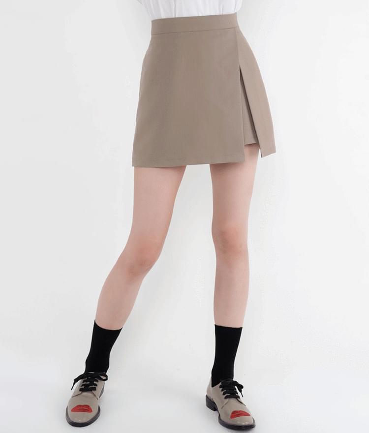 開衩素色褲裙