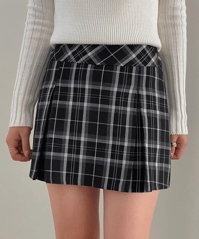 Sheverkin Check Pleated Mini Skirt