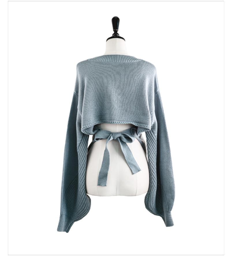 Greenery Back Split Ribbon Balloon V-Neck Crop Knitwear