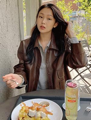 Sophie pocket leather jacket