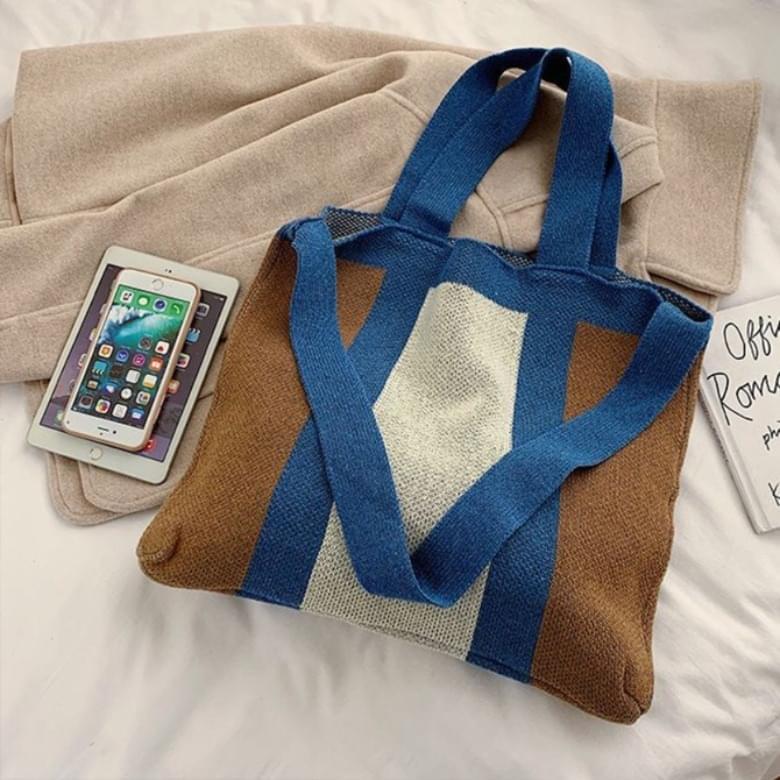 Striped Wide Knitwear Tote Bag