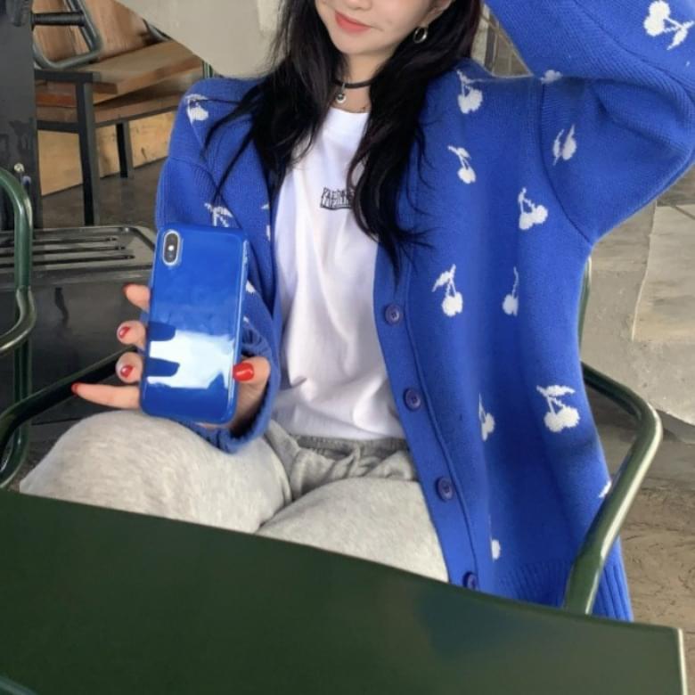 Popular item oversized simple color cherry cardigan