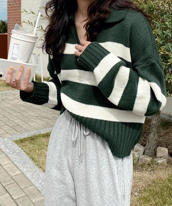 Vitamin Split Collar Stripe Knitwear
