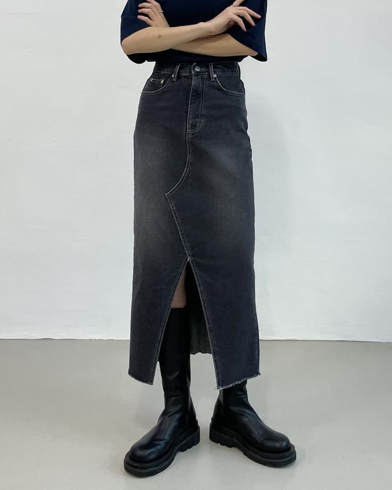 deep slit high waist long skirt