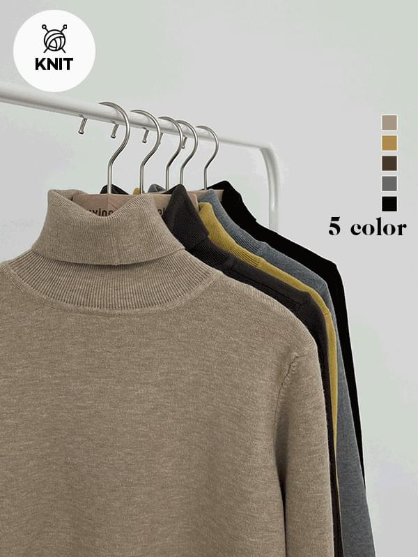 Coffee Cup Basic Turtleneck Knitwear - 5color