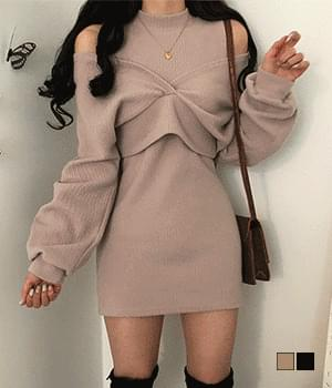 Soft Shoulder Split Mini Dress+ Wrap Knitwear Two-Piece Set