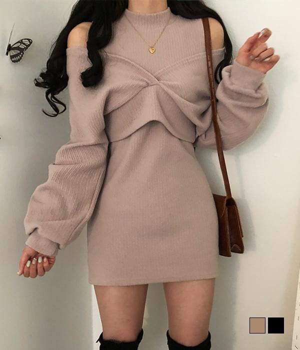 Soft Shoulder Split Mini Dress+ Wrap Knitwear Two-Piece Set (Delayed delivery)