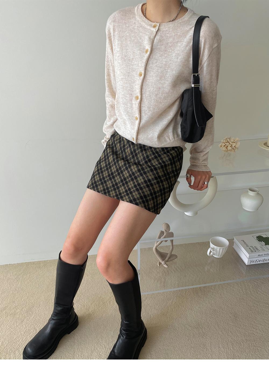 Saebeon Check Banding Mini Skirt Pants