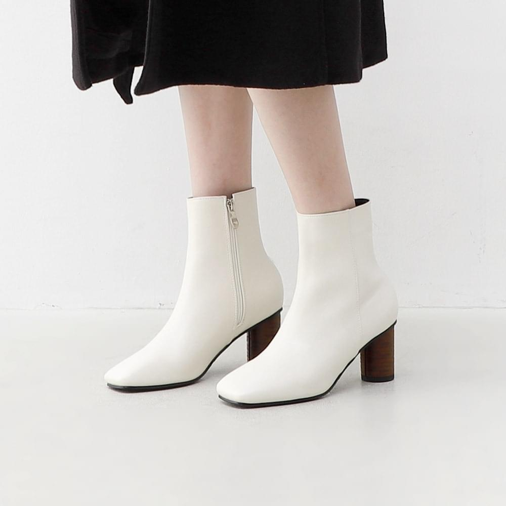 Square Nose Round High Heel Side Zip Ankle Boots 1914 靴子