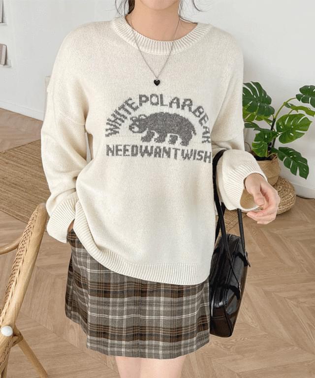 Big Size 55-120 Bare Print Overfit Wool Knitwear
