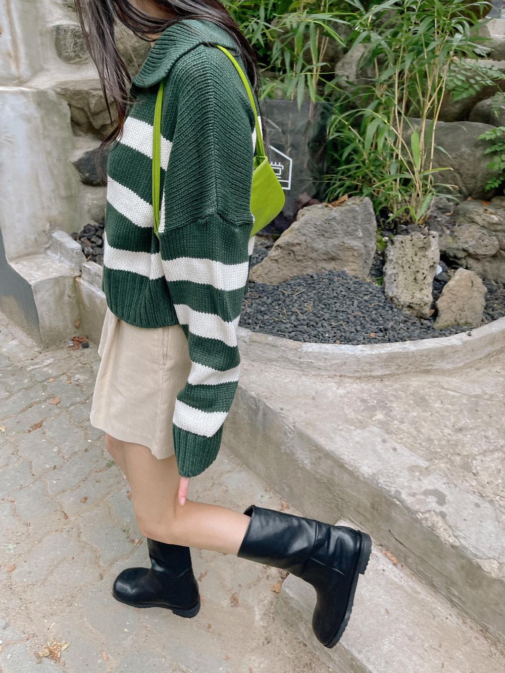 Seed Stripe Collar Knitwear