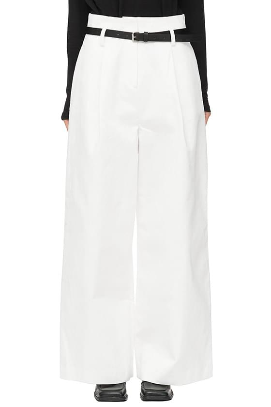 Belted wide cotton trousers