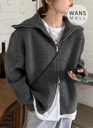 cd6390 bling two-way zip-up cardigan