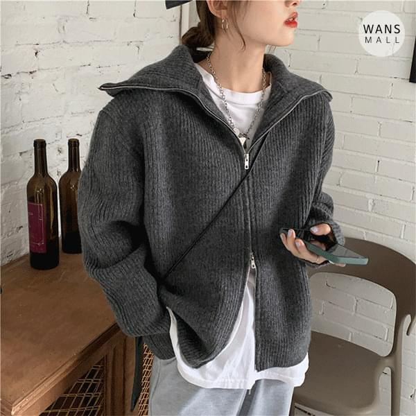cd6390 bling two-way zip-up cardigan (Delayed delivery)
