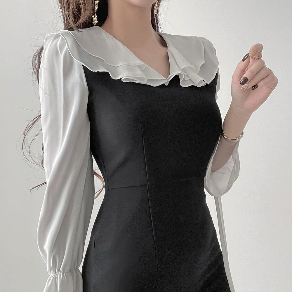 Gorgeous Clavicle Goddess Ruffle Black Color Matching Big Collar Dress