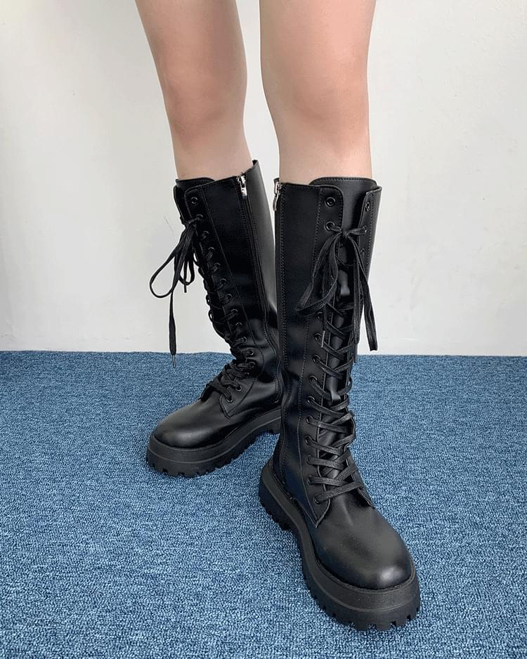 Hopper Lace-Up Whole Heel Zipper Boots Long Walker (Delayed delivery)
