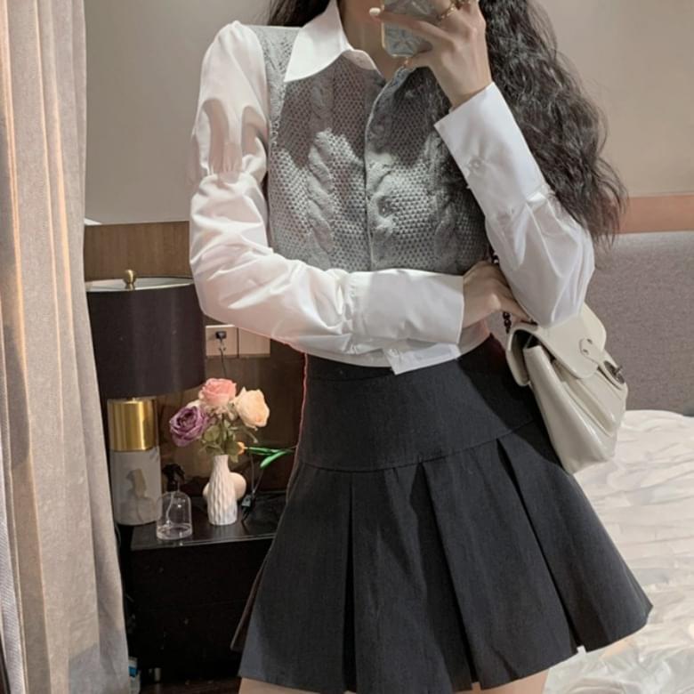 Simple High Waist Collar Knitwear Blouse