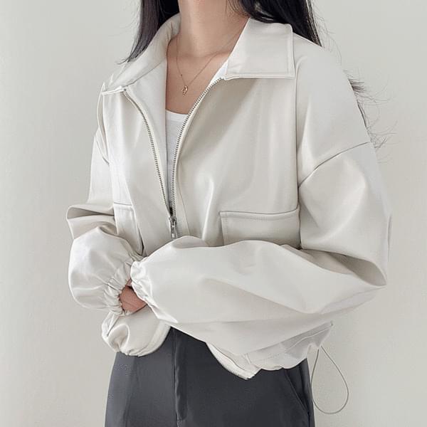 string pocket leather Jacket