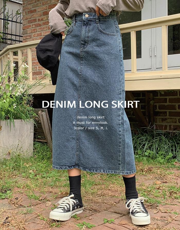 Aviv Long Denim Skirt