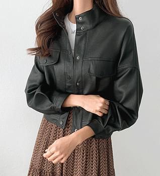 Snap Balloon Leather Jacket #66013