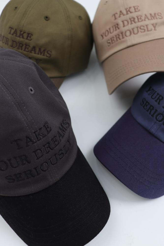 Color Matching Lettering Cotton Ball Cap