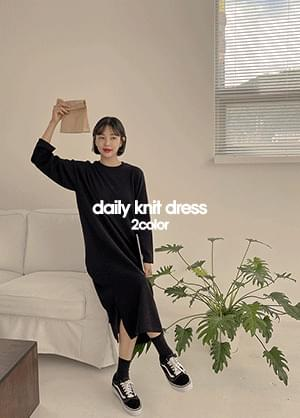 Cluj Ying Ribbed teuim Round Neck Long Knitwear Dress