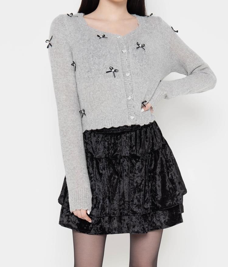 Mini Bow Accent Knit Cardigan
