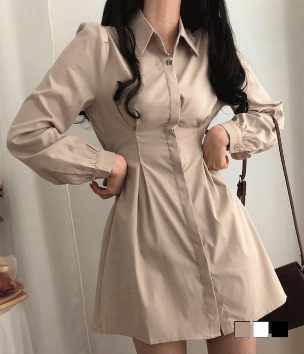 Pintuck Waist Banding Shirt Mini Dress