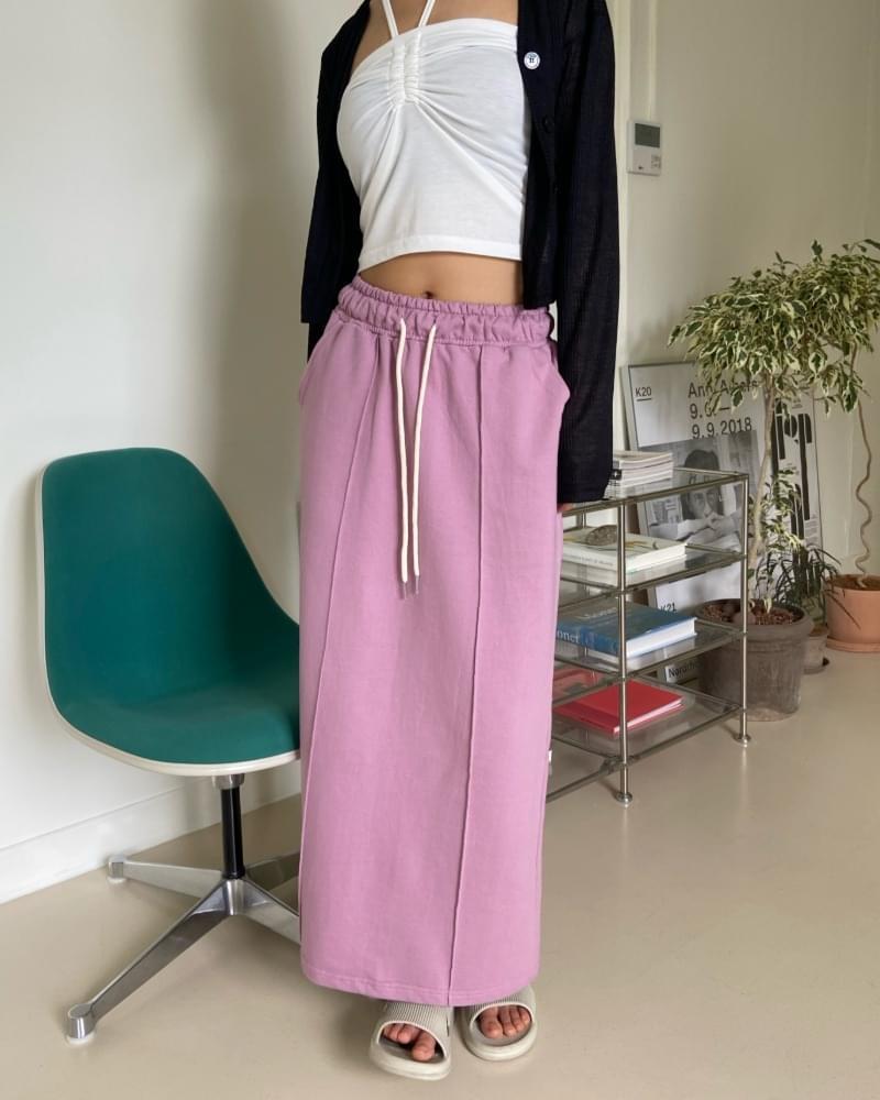 Pintuck Cotton Banding Long Skirt
