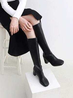 Square nose high heels side zip long boots 9168