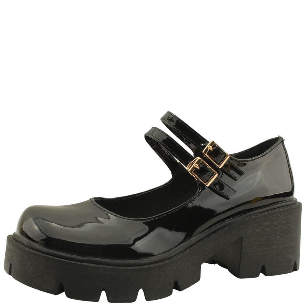 Mary Jane Slim Strap Middle Heel Loafers Enamel