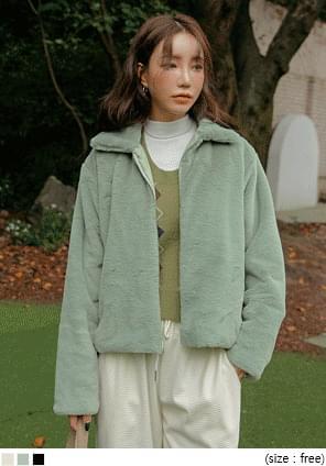 Fuzzy Zip-Up Boxy Jacket