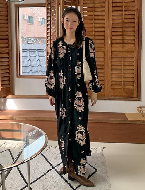 Metis button flower long Dress