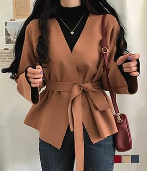 Wrap-style belted loose wool short coat