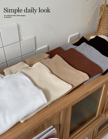 Warm Slim Ribbed Turtleneck Knitwear