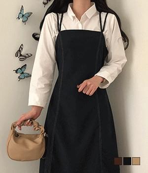 Two-line stitch bustier long Dress