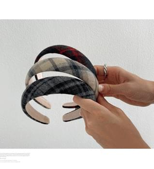 Fleece-lined Check Headband #86688