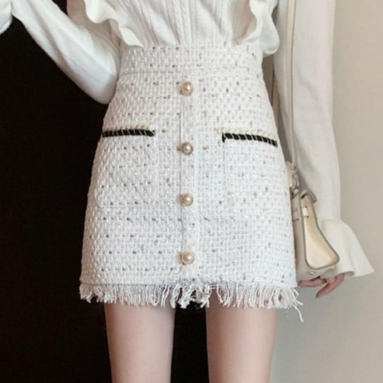Rubin Tweed High Waist Skirt
