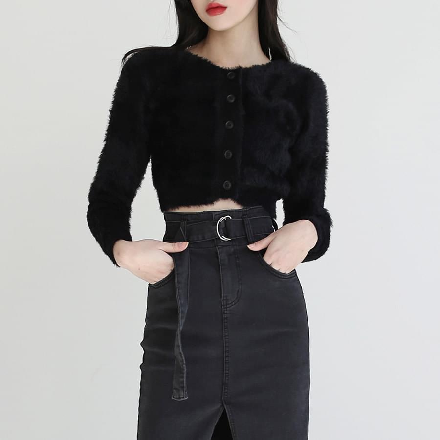 warm angora cropped cardigan