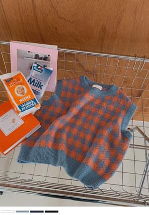 Dazzling Square Check Knitwear Vest