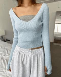 Deep V-Neck Ribbed Warmer Knitwear