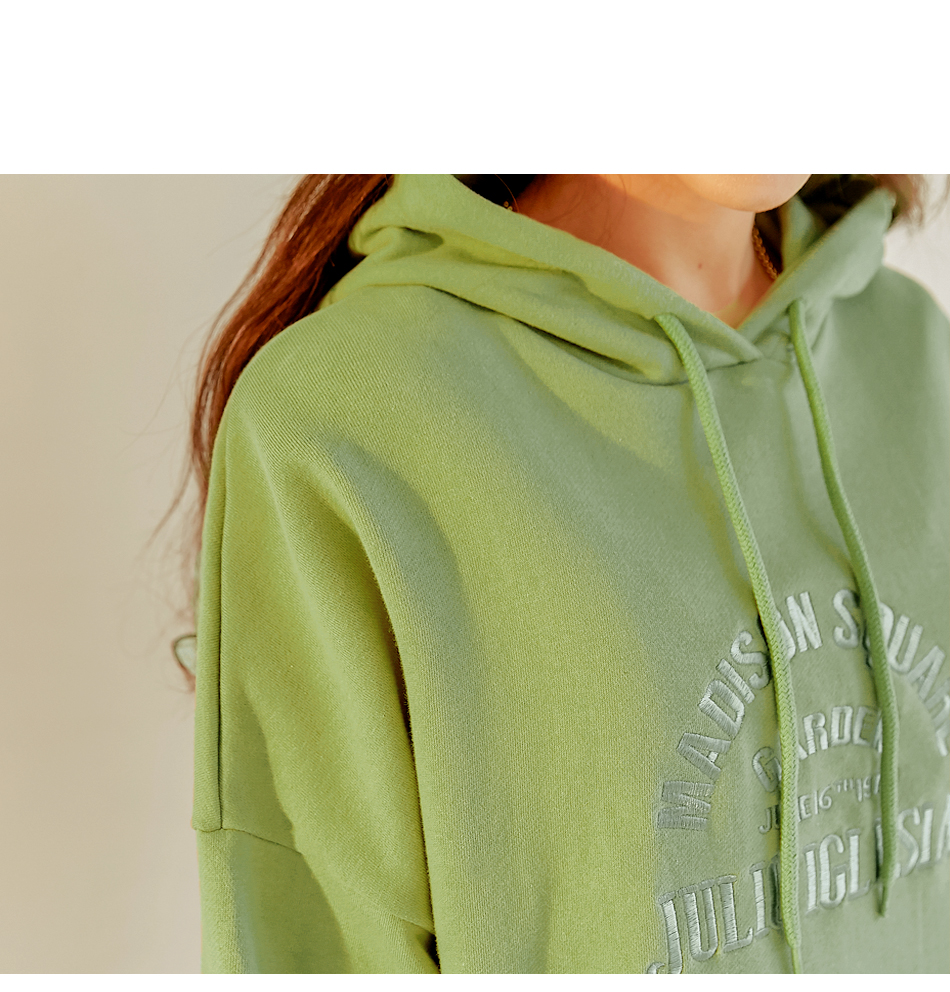 Embroidered Lettering Pullover Hoodie