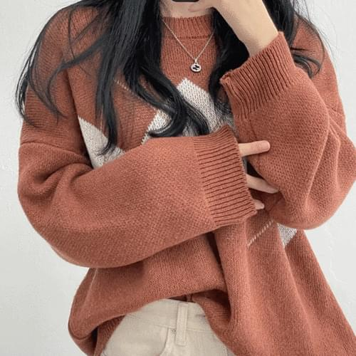 Ruby Argyle Round Long Sleeve Knitwear 3color