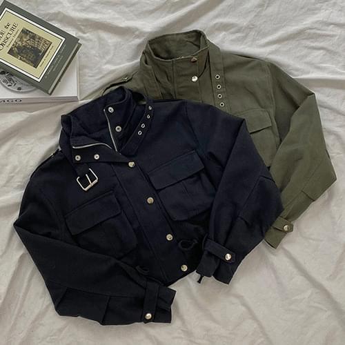 Side Pocket String Belted Casual Short Crop Field Jacket T#YW836