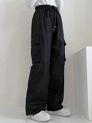 String Cargo Wide Cotton Pants