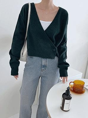 Wrap Button Crop Knitwear Cardigan